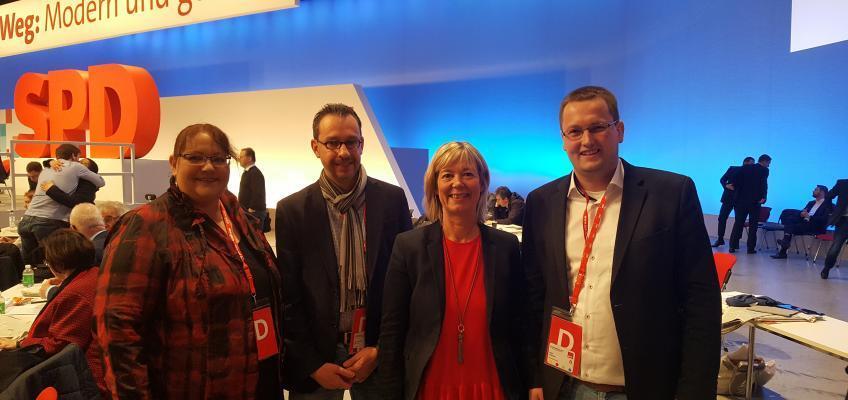 Die Mainzer Delegierten beim SPD-Bundesparteitag: Corinne Herbst, Marc-Antonin Bleicher, Doris Ahnen & Erik Donner