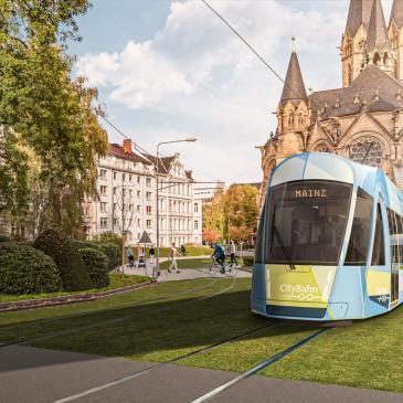 Illustration der CityBahn vor der Wiesbadener Ringkirche mit dem Ziel Mainz